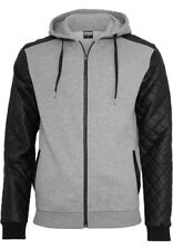 Urban Classics Diamond Leather Imitation Sleeve Zip Hoody Jacke TB824 gry/blk XL