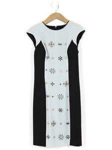 Karen Millen Dove Grey and Black jewelled dress UK Size 14