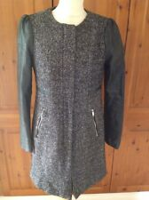 GREAT H&M BLACK/WHITE FLECK & FAUX LEATHER COAT UK SIZE 10 WORN GOOD CONDITION