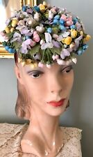 Vintage 1950's Amy New York Pastel Floral Hat W/ Dangling Flowers & Buds