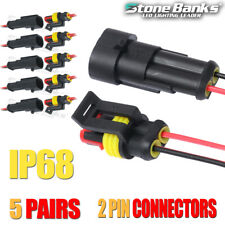 5X 2 Pin Way Car Sealed Waterproof Electrical Plug Cable Connector Male+Female