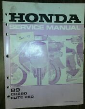 Honda CH250 Elite 250 Service Shop Manual Book 1989  89