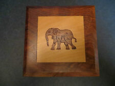 Vintage Africa handcarved inlaid wood elephant box - high quality carving  #254