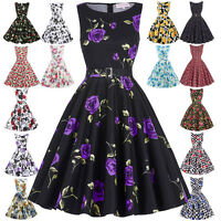 PLUS SIZE Vintage 50s Housewife Party Retro Swing Pin Up Floral Casual Tea Dress