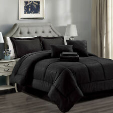 10 Piece Reversible Comforter Set Black Soft Warn Microfiber Bedding Comforter