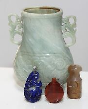 Antique Chinese carved collection four pieces of Agate, Lapis & Jadeite, QING.