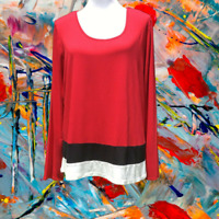 Kim Rogers Womens Colorblock Stretch Pullover Top L Lightweight Long Sleeve