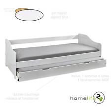 Lit gigogne 90x200 lit-tiroir multi-rangement double couchage bois massif blanc