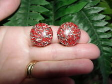 Vintage Lucite - GLITTER CONFETTI - clip EARRINGS - red with silver