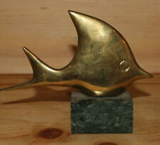 Vintage hand made brass modernist fish figurine with marble base