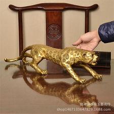 Chinese Folk Bronze Copper Lucky Money Leopard Cheetah Art Statue Figures26cm /