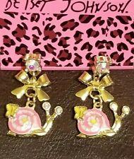 Women's Enamel Crystal Cute Butterfly Snail Betsey Johnson Stud Earrings