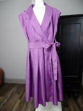 Evan Picone Women 14W Purple Taffeta Cap Sleeve Fit Flare Cocktail Sheat Dress V
