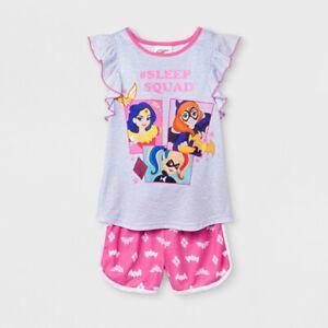 Girls' DC Super Hero Girls 2pc Pajama Set - Gray/Pink L