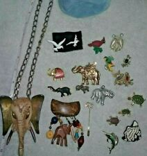 Vintage Turtle Fish Bird Jewelry Rawcliffe Pewter Elephant Jewelry Pin Brooch