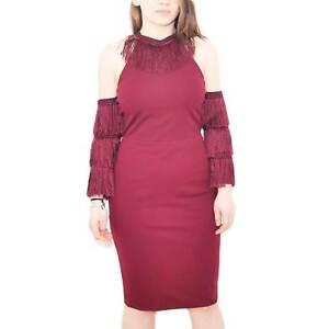 Vestito da donna in cotone bordeaux con manica staccata stile charleston scollo