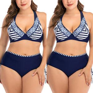 Plus Size Women Padded High Waist Halter Bikini Set Swimwear Beachwear Swimsuits