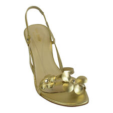Kate Spade Lorie Flower Slingback Strapy Heels In Nappy Gold 8