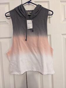 NWT Forever 21 sleeveless hoodie white, peach, gray
