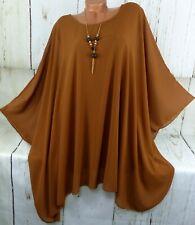 Designer Bluse Shirt Top Tunika Poncho Hängerchen Chiffon Cognac XXL 48 50 52