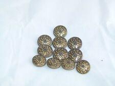 Full Vintage Set of Metal Sew on Coat Buttons - Embossed Floral Design