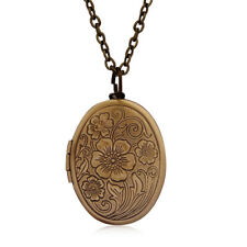 Women Vintage Ancient Brass Necklace Oval Carved Flower Stripe Locket Pendant