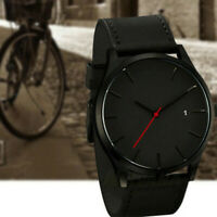 Men's Classic Sport Stainless Steel Case Leather Band Quartz Analog Watch C-998