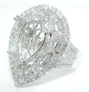 JUMBO 3 CT DIAMOND PEAR SHAPED Filagree Engagement Mounting Ring Setting 18K WG