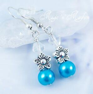 Spring Breeze Flower Earrings - Handmade Jewelry - Clear & Blue Glass Beads