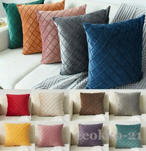 45 50cm Checks Velvet Cushion Cover Pillow Case Sofa Car Home Bed Decor New