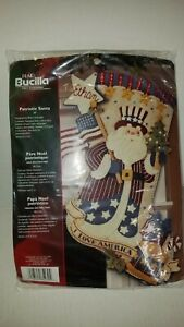 Bucilla 'Patriotic Santa' Felt Christmas Stocking Kit #85430 I Love America