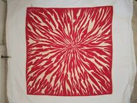 Vintage Jean Patou Paris Red & White Silk Scarf Graphic Abstract Pattern