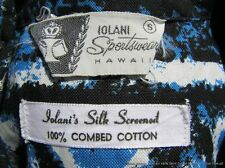 Vintage Aloha Shirt Iolani Label Hawaii Cotton Modernist Print Retro Small Mint