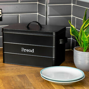 Black Metal Bread Bin Kitchen Vintage Retro Style Storage Canister Box With Lid