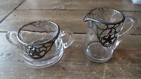 Antique Sterling Silver Overlay Glass Sugar Bowl & Creamer