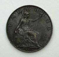 Dated : 1914 - One Farthing - 1/4d Coin - King George V - Great Britain