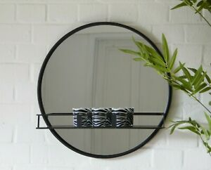 Black Mirror Metal Framed Glass Display Shelf  Round Wall Unit Bathroom Bedroom