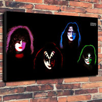 """Kiss 4 Heads Printed Box Canvas Picture A1.30""""x20"""" x 30mm Deep Heavy Metal Rock"""