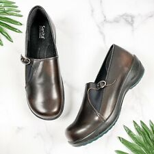 NEW Sanita 41 10 Dark Brown Leather Slip On Clogs Nurse Shoes