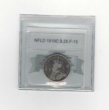 **1919C**,Coin Mart Graded, Newfoundland 25 Cent, **F-15**