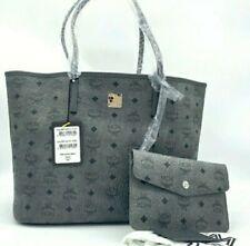MCM Phantom Grey Limonta Logo Print Tote Bag W/ Matching Pouch/ Wallet