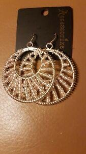 Accessorize silver & Diamonte Jewels Dangle Drop Chandelier Earrings