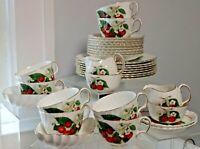 32pc Vintage Adderley England Cups Saucers,Plates Creamer & Sugar Cherry Ripe