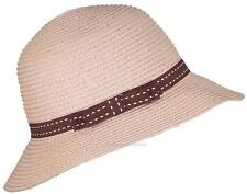 Tropic Hats Womens Cloche Sun Packable Cap W/Dotted Line Band & Bow #914 Salmon