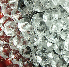 200  X  CRYSTAL CLEAR~RONDELLE ~FACETED~TRANSPARENT~ACRYLIC  BEADS, 8 x 5 MM