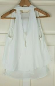 ZARA Ladie's Beige Collection Sleeveless V Shape Fully Lined Top Blouse Size S
