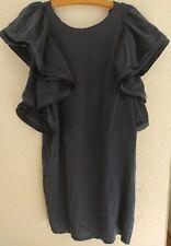 LANVIN pour H&M designer robe, 100% soie, bleu foncé, Eu 38/Usa 8