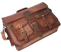 New Men's Genuine Brown Leather Vintage Laptop Messenger Shoulder Briefcase Bag