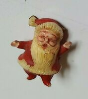 Vintage Hard Plastic Christmas Decoration Santa Claus Cake Cupcake Topper 1950s