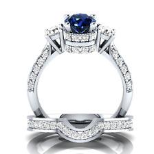 Women 925 Silver Round Cut Blue & White Sapphire Elegant Wedding Ring Size 8